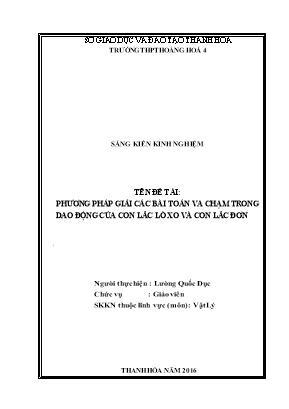 SKKN Phương pháp giải các bài toán va chạm trong dao động của con lắc lò xo và con lắc đơn