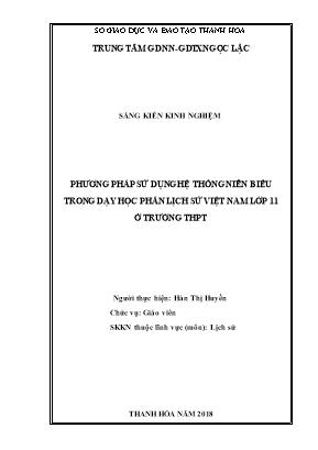 SKKN Phương pháp sử dụng hệ thống niên biểu trong dạy học phần Lịch sử Việt Nam lớp 11 ở trường Trung học phổ thông