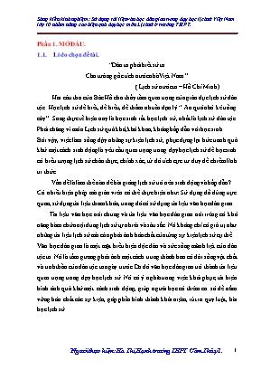 SKKN Sáng kiến kinh nghiệm: Sử dụng tài liệu văn học dân gian trong dạy học lịch sử Việt Nam lớp 10 nhằm nâng cao hiệu quả dạy học môn Lịch sử ở trường THPT