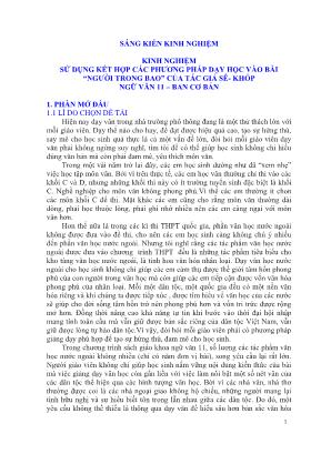 """SKKN Sử dụng kết hợp các phương pháp dạy học vào bài """"người trong bao"""" của tác giả sê - Khốp Ngữ văn 11 – ban cơ bản"""