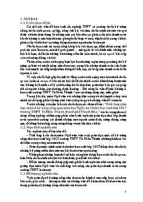 SKKN Tích hợp giáo dục một số kỹ năng sống qua môn học Ngữ văn 10 cho học sinh lớp 10C7 trường THPT Tô Hiến Thành, thành phố Thanh Hóa