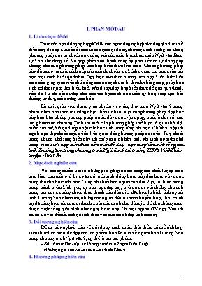 SKKN Tích hợp kiến thức liên môn để dạy - Học tác phẩm viết về người lính Trường Sơn trong chương trình Ngữ văn 9 tại trường THCS Vĩnh Phúc, huyện Vĩnh Lộc