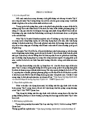 SKKN Vận dụng bài tập định tính và câu hỏi thực tế trong dạy học Vật lí 10 – THPT Quan sơn