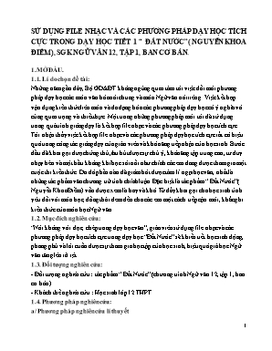 """Sử dụng file nhạc và các phương pháp dạy học tích cực trong dạy học tiết 1 """"đất nước"""" (Nguyễn Khoa Điềm), sgk Ngữ văn 12, tập 1, ban cơ bản"""