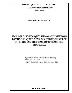 Tích hợp giáo dục quốc phòng an ninh trong dạy học giáo dục công dân cho học sinh lớp 10 - 11 trường THPT Hàm Tồng thành phố Thanh Hóa