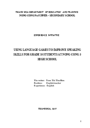 Using language games to improve speaking skills for grade 10 students at nong cong 3 high school