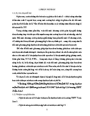 Vận dụng kết hợp kĩ thuật khăn phủ bàn và kĩ thuật X - Y - Z trong dạy học một số bài lịch sử Việt Nam giai đoạn 1919 - 1945 Lịch sử lớp 12 ở trường THPT Triệu Sơn 2