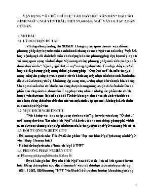 """Vận dụng """"ô chữ trí tuệ"""" vào dạy học văn bản """"đại cáo bình ngô"""" (Nguyễn Trãi), tiết 59, 60 - Sgk Ngữ văn 10, tập 2, ban cơ bản"""