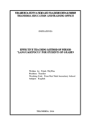 """Effective teaching method of period """"language focus"""" for students of Grade 9"""