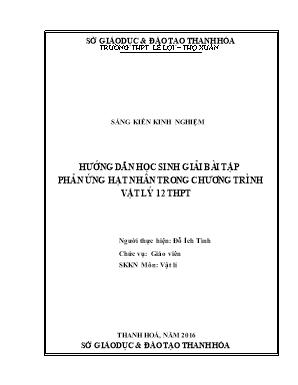 Hướng dẫn học sinh giải bài tập phản ứng hạt nhân trong chương trình Vật lý 12 THPT