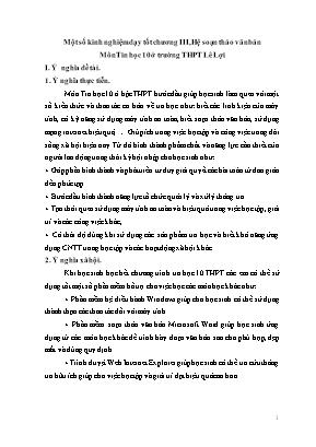 SKKN Một số kinh nghiệm dạy tốt chương III, Hệ soạn thảo văn bản Môn Tin học 10 ở trường THPT Lê Lợi