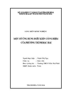 SKKN Một số ứng dụng điều kiện có nghiệm của phương trình bậc hai