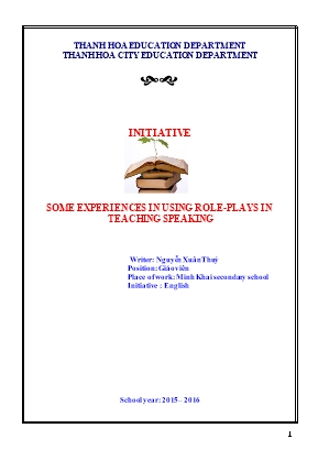 Some experiences in using role- Plays in teaching speaking - School year: 2015 – 2016