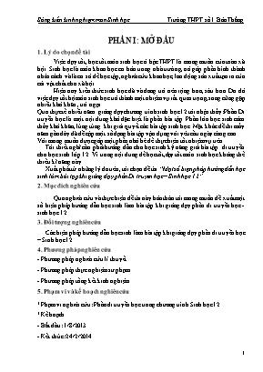 Sáng kiến kinh nghiệm Một số biện pháp hướng dẫn học sinh làm bài tập khi giảng dạy phần Di truyền học – Sinh học 12